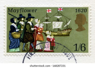 UNITED KINGDOM - CIRCA 1970: A used British postage stamp celebrating the 350th Anniversary of the Pilgrim Fathers Journey in the Mayflower to the New World, circa 1970.