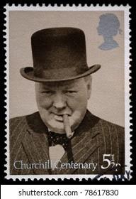 UNITED KINGDOM - CIRCA 1974: British Used Postage Stamp showing Sir Winston Churchill, circa 1974
