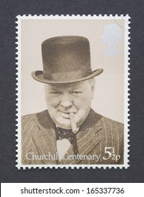 UNITED KINGDOM - CIRCA 1974: a postage stamp printed in United Kingdom showing an image of sir Winston Churchill commemorative of his birth centenary, circa 1974.