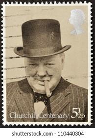 UNITED KINGDOM - CIRCA 1974: A stamp printed in Great Britain showing Sir Winston Churchill, circa 1974