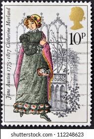 UNITED KINGDOM - CIRCA 1975: A stamp printed in United Kingdom shows Catherine Morland by Jane Austen, circa 1975.