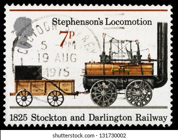 UNITED KINGDOM - CIRCA 1975: A used postage stamp printed in Britain celebrating the 150th Anniversary of the Public Railways from 1825 and the Stockton and Darlington Railway, circa 1975