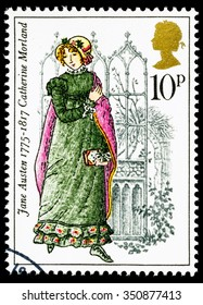 UNITED KINGDOM - CIRCA 1975: used postage stamp printed in Britain commemorating the Bicentenary of the Writer Jane Austen