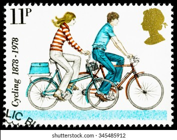 UNITED KINGDOM - CIRCA 1978: A British Used Postage Stamp celebrating cycling, showing Modern Small Wheeled Bicycles