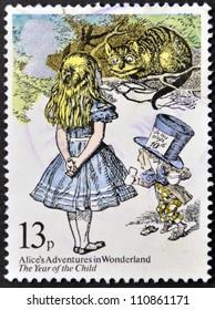 UNITED KINGDOM - CIRCA 1979: A stamp printed in Great Britain shows Alice's Adventures in Wonderland, circa 1979