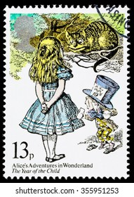 UNITED KINGDOM - CIRCA 1979: A used postage stamp printed in Britain showing Characters from Alice in Wonderland by Lewis Carroll