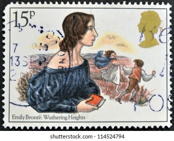 UNITED KINGDOM - CIRCA 1980: A stamp printed in Great Britain showing a drawing the writer Emily Bronte: Whuthering Heights, circa 1980.