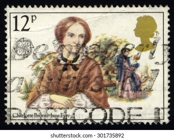 UNITED KINGDOM - CIRCA 1980: A stamp printed in the United Kingdom celebrating Famous Authoresses, showing Charlotte Bronte and jane Eyre, circa 1980