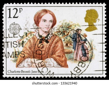 UNITED KINGDOM - CIRCA 1980: A used postage stamp printed in Britain celebrating Famous Authoresses, showing Charlotte Bronte and jane Eyre, circa 1980