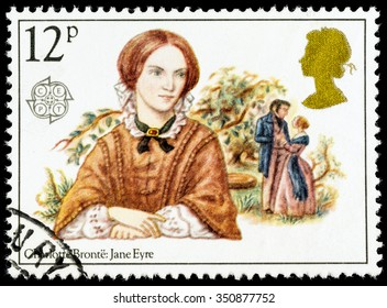 UNITED KINGDOM - CIRCA 1980: A used postage stamp printed in Britain celebrating Famous Authoresses, showing Charlotte Bronte and Jane Eyre