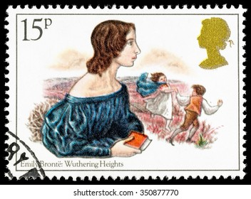 UNITED KINGDOM - CIRCA 1980: A used postage stamp printed in Britain celebrating Famous Authoresses, showing Emily Bronte and Wuthering Heights