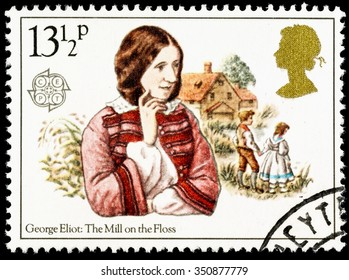 UNITED KINGDOM - CIRCA 1980: A used postage stamp printed in Britain celebrating Famous Authoresses, showing George Eliot and The Mill on the Floss
