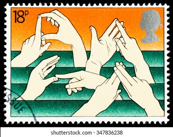 UNITED KINGDOM - CIRCA 1981: A British Used Postage Stamp Commemorating The Year of the Disabled Showing Sign Language