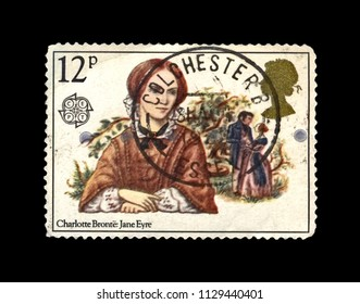 UNITED KINGDOM - CIRCA 1981: canceled stamp printed in Great Britain shows Jane Eyre novel scene by English writer Charlotte Bronte (1816-1855), circa 1981.
