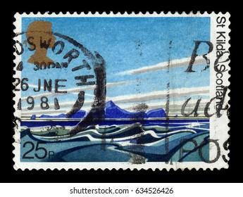 UNITED KINGDOM - CIRCA 1981: A stamp printed in Great Britain shows archipelago St Kilda, Scotland, 50th anniversary of the National Trust for Scotland - Britis, circa 1981