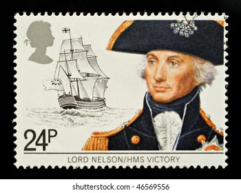UNITED KINGDOM - CIRCA 1982: A British Used Postage Stamp Depicting Maritime Heirtage showing Lord Nelson and HMS Victory, circa 1982