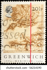 "UNITED KINGDOM - CIRCA 1984: A stamp printed in United Kingdom shows red line on a map of England with the inscription ""GREENWICH 1884-MERIDIAN-1984"", circa 1984"