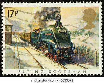 UNITED KINGDOM - CIRCA 1985: A British Used Postage Stamp showing The Flying Scotsman Train, circa 1985