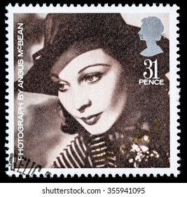 UNITED KINGDOM - CIRCA 1985: A used postage stamp printed in Britain celebrating British Film Year showing the Famous Actress Vivien Leigh