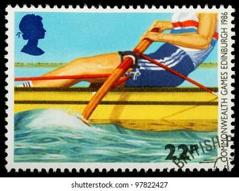 UNITED KINGDOM - CIRCA 1986 : A British Used Postage Stamp showing Rowing, circa 1986