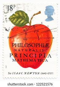 UNITED KINGDOM - CIRCA 1987: A stamp printed in United Kingdom shows a Red Apple of Sir Isaac Newton (1642-1727), Physicist, Mathematician, circa 1987