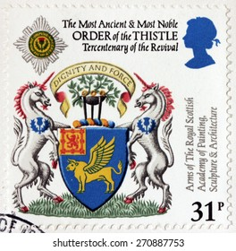 UNITED KINGDOM - CIRCA 1987: A stamp printed by GREAT BRITAIN shows The Most Ancient and Most Noble Order of the Thistle and Arms of Royal Scottish Academy of Painting, circa 1987