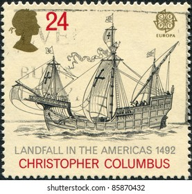 "UNITED KINGDOM - CIRCA 1992: A stamp printed in England, is dedicated to the 500th anniversary of the discovery of America, shows the flag-ship, Christopher Columbus ""Santa Maria"", circa 1992"