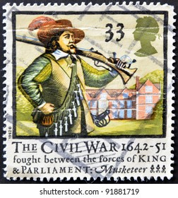 UNITED KINGDOM - CIRCA 1992: a stamp printed in the Great Britain shows Musketter, 350th anniversary of English civil war, circa 1992