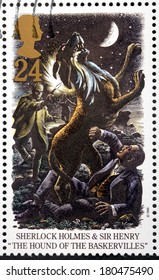 UNITED KINGDOM - CIRCA 1993: A stamp printed by GREAT BRITAIN shows Sherlock Holmes and  Sir Henry. The Hound of The Baskervilles is a crime novel written by Arthur Conan Doyle, circa 1993