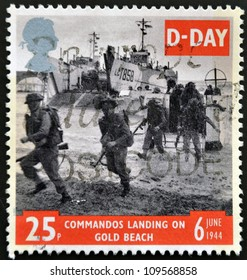 UNITED KINGDOM - CIRCA 1994: a stamp printed in Great Britain shows image of soldiers on Gold Beach in Normandy, commemorating D-Day, circa 1994