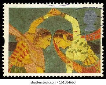 UNITED KINGDOM - CIRCA 1995: A stamp printed in Great Britain shows indian dancers, Kathak Dance, circa 1995