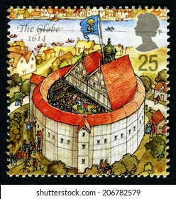 UNITED KINGDOM - CIRCA 1995: A stamp printed in Great Britain dedicated to Reconstruction of Shakespeares Globe Theatre, shows the globe, 1614, circa 1995