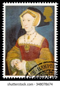 UNITED KINGDOM - CIRCA 1997: used postage stamp printed in Britain commemorating King Henry 8th showing Jane Seymour one of his many Wives