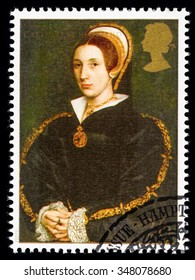 UNITED KINGDOM - CIRCA 1997: used postage stamp printed in Britain commemorating King Henry 8th showing Catherine Howard one of his many Wives