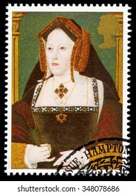 UNITED KINGDOM - CIRCA 1997: used postage stamp printed in Britain commemorating King Henry 8th showing Catherine of Aragon one of his many Wives