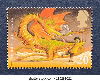 UNITED KINGDOM - CIRCA 1998: a postage stamp printed in United Kingdom showing an image of The Hobbit a novel by J.R.R. Tolkien, circa 1998.