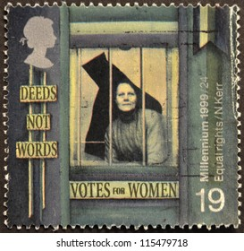 UNITED KINGDOM - CIRCA 1999: A stamp printed in Great Britain shows Suffragette behind Prison Window ('Equal Rights for Women'), circa 1999