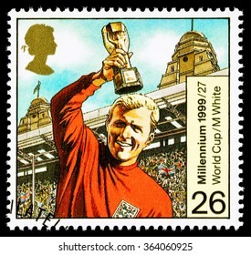 UNITED KINGDOM - CIRCA 1999: A used postage stamp printed in Britain celebrating Entertainers showing the Famous Footballer Bobby Moore
