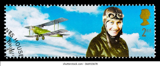 UNITED KINGDOM - CIRCA 2003: A used postage stamp printed in Britain celebrating British Explorers showing Amy Johnson