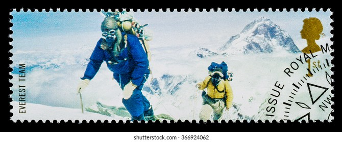 UNITED KINGDOM - CIRCA 2003: A used postage stamp printed in Britain celebrating British Explorers showing Members of the 1953 Mount Everest Team