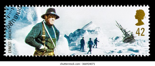 UNITED KINGDOM - CIRCA 2003: A used postage stamp printed in Britain celebrating British Explorers Ernest Shackleton Antarctic Explorer and the Wreck of the Endurance