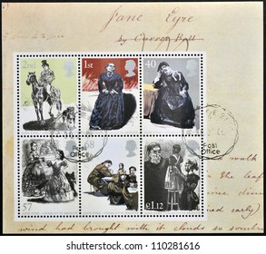 UNITED KINGDOM - CIRCA 2005: Collection stamps printed in Great Britain dedicated to Charlotte Bronte shows Jane Eyre, circa 2005