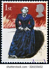UNITED KINGDOM  - CIRCA 2005: A stamp printed in Great Britain Shows Charlotte Bronte (Jane Eyre), circa 2005