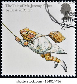 UNITED KINGDOM - CIRCA 2006: A stamp printed in Great Britain dedicated to animal tales, shows The Tale of Jeremy Fisher' from Beatrix Potter's books, circa 2006