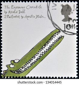UNITED KINGDOM - CIRCA 2006: A stamp printed in Great Britain dedicated to animal tales, shows Roald Dahl's 'The Enormous Crocodile', circa 2006