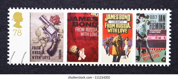 UNITED KINGDOM - CIRCA 2007: a postage stamp printed in United Kingdom showing images of covers of James Bond From Russia With Love novels by Ian Fleming, circa 2007.