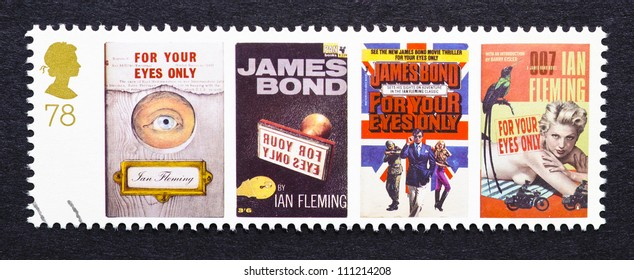 UNITED KINGDOM - CIRCA 2007: a postage stamp printed in United Kingdom showing images of covers of James Bond For Your Eyes Only novels by Ian Fleming, circa 2007.