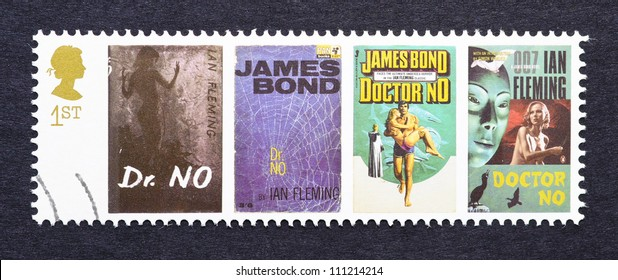 UNITED KINGDOM - CIRCA 2007: a postage stamp printed in United Kingdom showing images of covers of James Bond Dr. No novels by Ian Fleming, circa 2007.