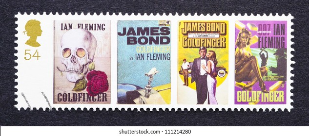 UNITED KINGDOM - CIRCA 2007: a postage stamp printed in United Kingdom showing images of covers of James Bond Goldfinger novels by Ian Fleming, circa 2007.