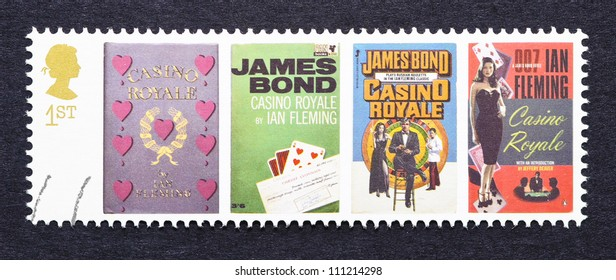 UNITED KINGDOM - CIRCA 2007: a postage stamp printed in United Kingdom showing images of covers of James Bond Casino Royale novels by Ian Fleming, circa 2007.